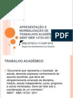 Elaborac3a7c3a3o de Trabalhos Acadc3aamicos 2016 Abnt Nbr 14724 2011
