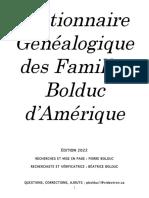Dictionnaire Généalogique des Familles Bolduc d'Amérique (2020)
