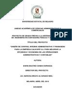 Diseño de Control Interno Administrativo y Financiero Para La Empresa Calicorp s.a. Para Mejorar La Eficiencia y Economía de Las Operaciones Administrativas y Contables