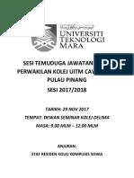 Sesi Temuduga Jawatankuasa Perwakilan Kolej Uitm Cawangan Pulau Pinang