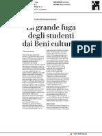 La grande fuga degli studenti dai beni Culturali - La Repubblica del 3 gennaio 2018