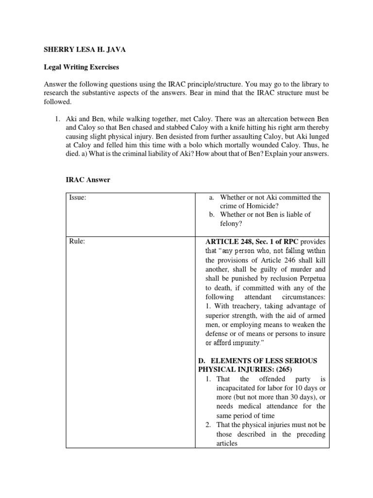 Irac Legal Exercise (1) | Murder | Crimes