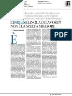 L'inglese lingua di lavoro? Non è la scelta migliore - Il Corriere della Sera del 7 gennaio 2018