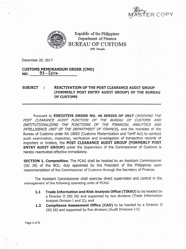 Boc cmo 32 2017 reactivation of the post clearance audit group of boc cmo 32 2017 reactivation of the post clearance audit group of the bureau of customs audit customs xflitez Image collections