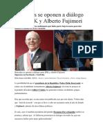 Bancadas Se Oponen a Diálogo Entre PPK y Alberto Fujimori