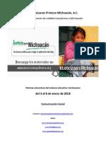 Síntesis Educativa Semanal de Michoacán del 08.01.2018