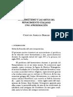 el hermetismo y las artes en el renacimiento italiano