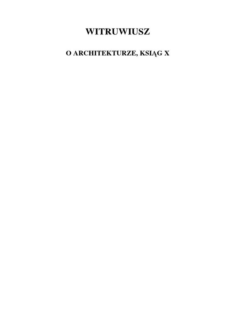 Witruwiusz O Architekturze Ksiąg Dziesięć