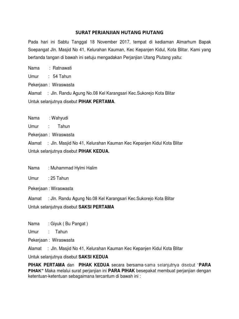 Surat Perjanjian Hutang Piutangdocx
