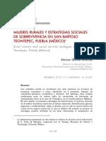 MUJERES RURALES Y ESTRATEGIAS SOCIALES DE SOBREVIVENCIA EN SAN BARTOLO TEONTEPEC, PUEBLA (MÉXICO)