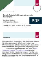 Domain Analysis in LIS