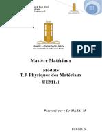 Tp Physique M- T.P Physiques Des Matériaux