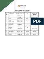 Toluene Specifications
