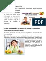 Qué Es La Alimentación Para Niños