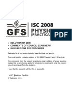 ISC Physics Practical Paper 2 2008 Solved Paper