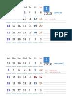 2018 Excel Calendar  Malaysia