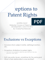 Exceptions to Patent Rights - Swaraj- IUCIPRS June 2016