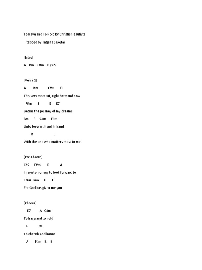 To Have And To Hold Chords Song Structure Oral Tradition
