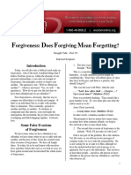 Forgiveness - Does Forgiving Mean Forgetting