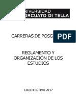 Reglamento Posgrado 2017 . UTDT