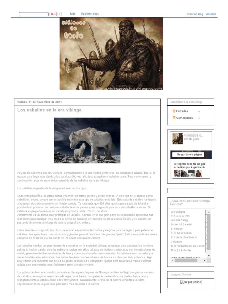 Vikingos De Thule Los Caballos En La Era Vikinga