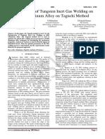 Optimization of Tungsten Inert Gas Welding on 6063 Aluminum Alloy on Taguchi Method