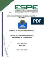 Informe Mecanizado CNC Piñones