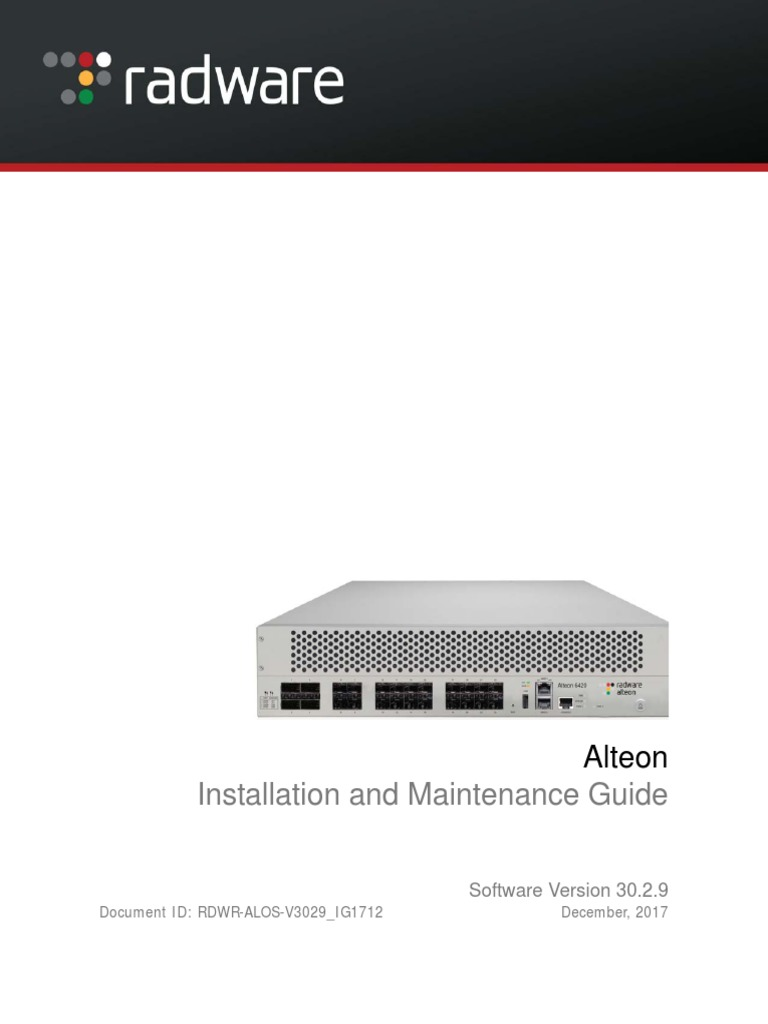 AlteonOS 30.2.9 Installation Guide | Electricity | Electromagnetism