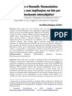 Gadamer e Honneth in Revista OPINIÃO FILOSÓFICA