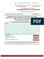 FORMULATION AND EVALUATION OF SUSTAINED RELEASE MATRIX TABLET QUETIAPINE FUMARATE BY USING NATURAL POLYMER