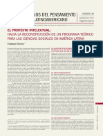 Torres, E. (2017) El Proyecto Intelectual. Hacia La Reconstrucción de Un Programa Teórico Para Las CCSS en AmLat