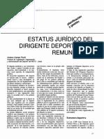 Camps, A. (1990) Estatus Jurídico Del Dirigente Deportivo No Remunerado
