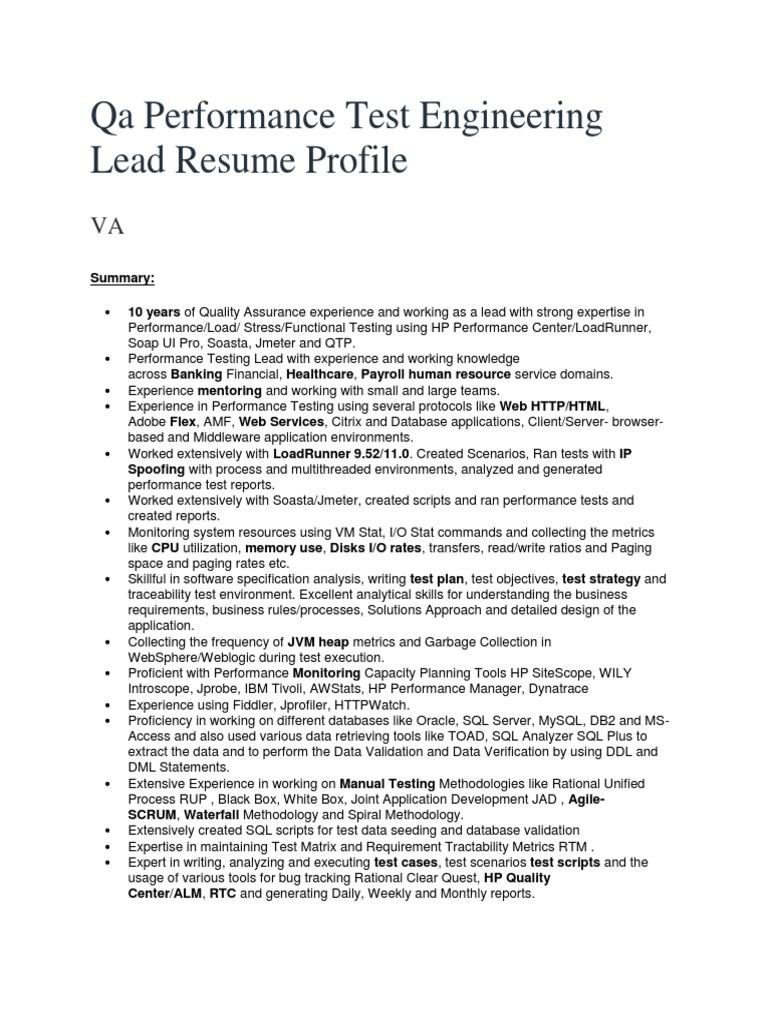 Qa Performance Test Engineering Lead Resume Profile | Web Server ...