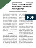 Pre-sowing Treatment Enhanced Germination and Vigour of True Shallot (Allium cepa var. aggregatum) Seeds