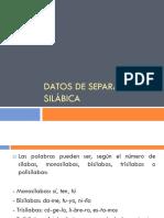 Datos de Separación Silábica