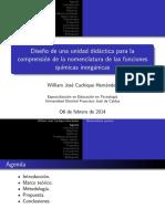 Diseño de una unidad didáctica para  al comprensión de la nomenclatura de las funciones químicas inorgánicas
