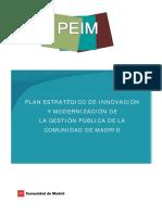 PLAN ESTRATÉGICO DE INNOVACIÓN Y MODERNIZACIÓN DE LA GESTIÓN PÚBLICA DE LA COMUNIDAD DE MADRID