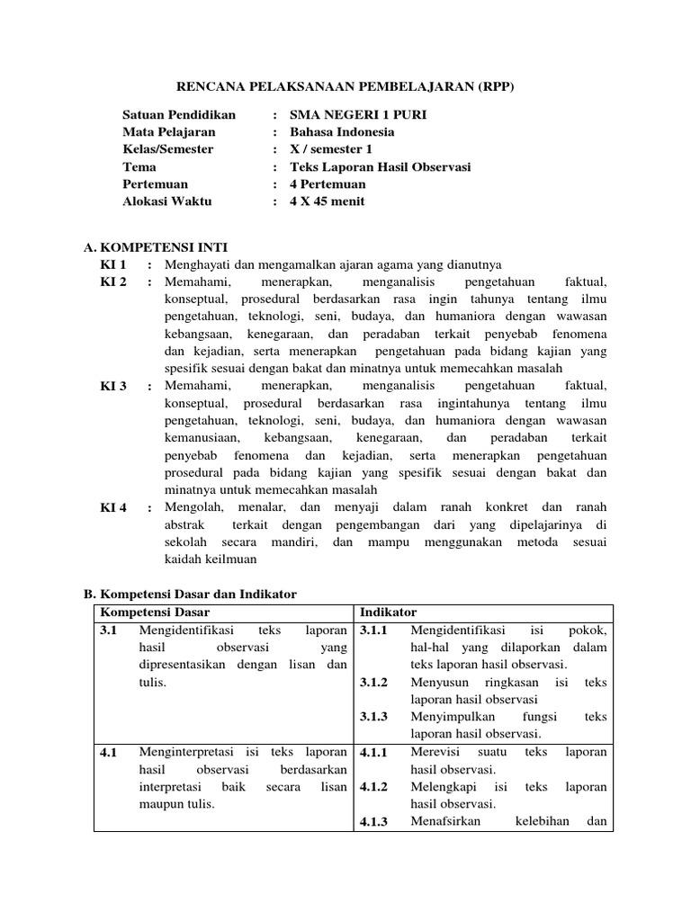 Contoh Rpp Teks Laporan Hasil Observasi Kelas 7 Kumpulan Contoh Laporan