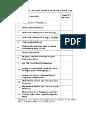 Senarai Semak Dokumen Pendaftaran Tahun 1