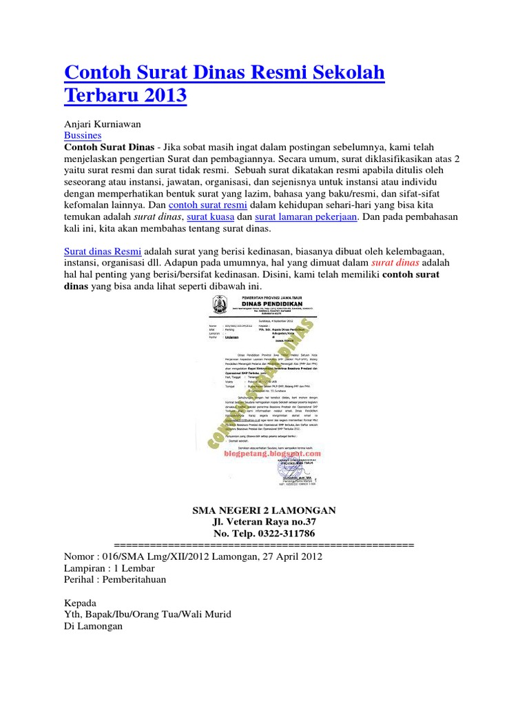 Contoh Surat Dinas Resmi Sekolah Terbaru 2013.docx