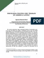 Psicología Política Del Trabajo en América Latina