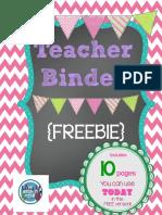 Free Print Able Teachers Binder Chalkboard Style