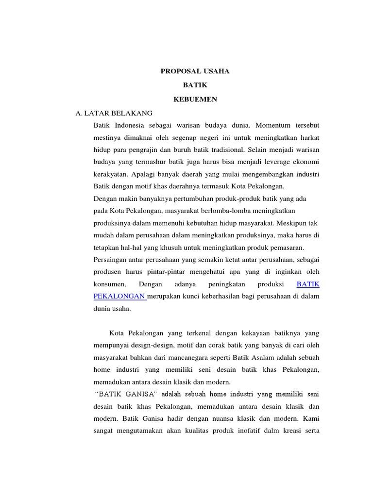 Proposal Usaha Batik Pekalongan Gambaran