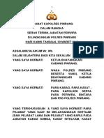 Amanat Kapolres Pinrang Sertijab Kabag Ops Dan Kasat Lantas