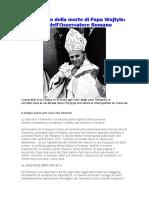 Anniversario Della Morte Di Papa Wojtyla