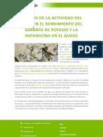 Efectos de La Actividad Del Agua en El Rendimiento Del Sorbato de Potasio y La Natamicina en El Queso