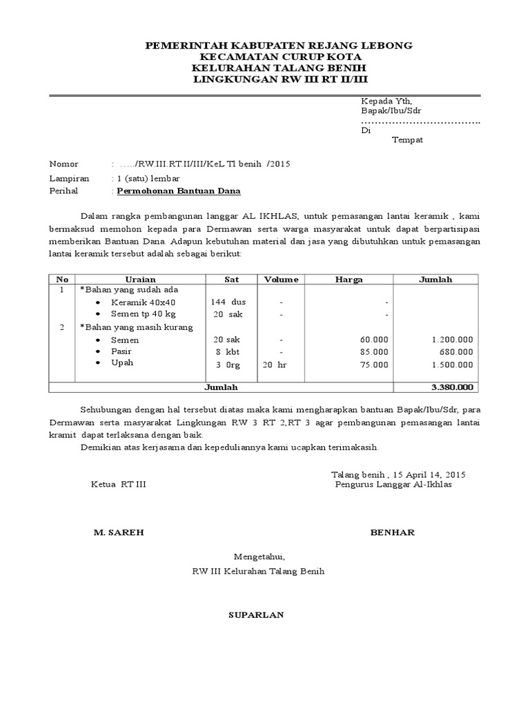 319461130 Contoh Surat Permohonan Bantuan Dana Pembangunan Gapura