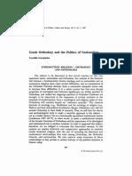 Greek Orthodoxy and the Politics of Nati