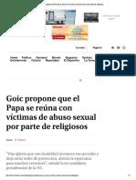 Goic propone que el Papa se reúna con v...e abuso sexual por parte de religiosos