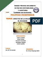 Efectos de La Dolarizacion Del Ecuador